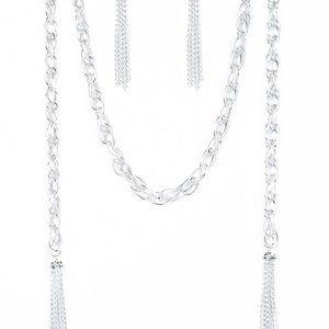 Paparazzi Silver Scarf Necklace